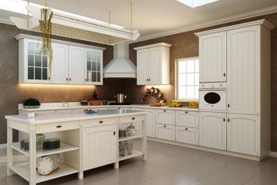 المطبخ يحتوي علي لون ابيض جميل ويمكن ان يوضع المصبخ في منزل صغير ويعطي جمال هادئ للمنزل